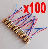 100pcs/lot 650nm 6mm 3V 5mW Laser Dot Diode Module Copper Head  Red