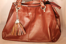 Misha Brown Synthetic Leather Purse with Tassles 112