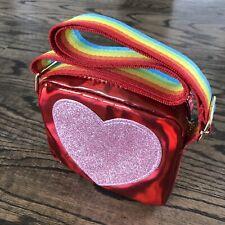 Kids Toddler Purse Crossbody Bag Rainbow Heart Red Glitter Girls Children NEW!!!