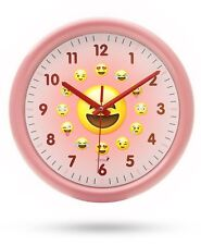 Chital Emoji Wall Clock Adorable Wall Clock for Kids Large 11.5-Inch Wall Pink
