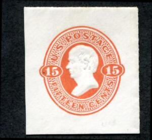 U.S. U96 Cut Square, 15c Webster, Orange on white, full corner