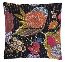 """Tropicana Cushion Cover 100% Cotton Embroidered Indian Black Kantha Pillow 16"""""""