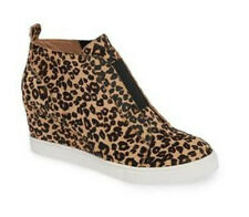 Women Hidden Wedge Heel Leopard Sneakers Casual Round Toe Pull On Pumps Loafers