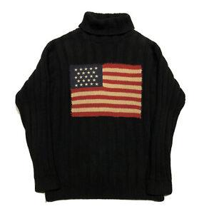Vintage Ralph Lauren Men's Turtleneck Sweater Cotton American Flag Sz Medium
