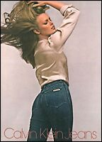1980 Young woman model Calvin Klein Jeans denim vintage photo Print Ad ads28