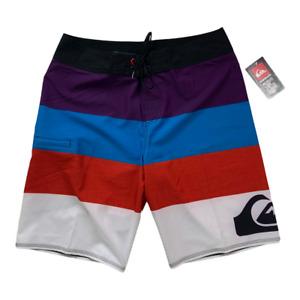 "Quiksilver Men Swimwear ,NEW Colorblock Stretch Board Short 11"" Inseam , Size 34"