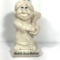 Russ Berrie World's Best Mother Mom Figurine Statue 1970 Big Smile With Trophy