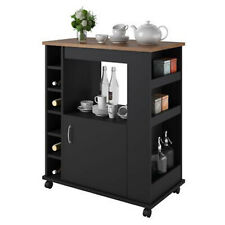 Ameriwood Home Williams Kitchen Cart Black Old Fashioned Pine Storage Shelves