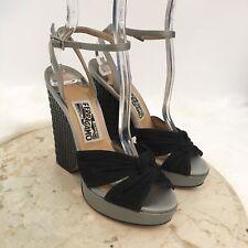 NEW $695 Salvatore Ferragamo Womens Sandals Sz 5 Platform Wedge Shoe Leather