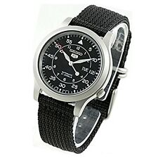 Seiko Automatic Military Black Nylon Sports Watch SNK809 SNK809K2 Men's Day Date
