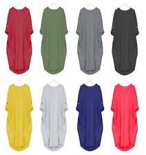New Ladies Women's Italian Legen Look Turn Up Sleeve Baggy Dress UK 8-24