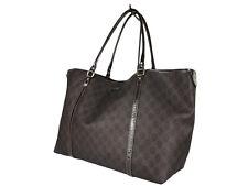 GUCCI GG Web PVC Canvas Leather Dark Browns Shoulder Bag GT2491