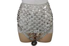 Women Fashion Belt Silver Metal Chain Long Skirt Coin Belly Dance Cardigan S M L