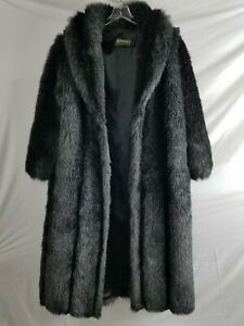 Monterey Fashions Womens Black Acrylic Faux Fur Overcoat Size Small