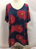 """LulaRoe Red and Blue Flower """"Christy"""" T-Shirt, Womens Size 2XL"""