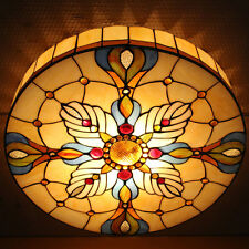 Tiffany Baroque Style Flush Mount Ceiling Light Stained Glass Ceiling Lamp 12""