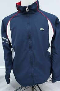 Lacoste Sports Tracksuit jacket mens top size 5 186 L Large NAVY  DEVANLAY Lined