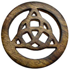 "NEW Triquetra Wood Altar Tile 4"" Wooden Handmade Celtic Knot Carving"