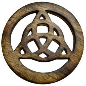 """NEW Triquetra Wood Altar Tile 4"""" Wooden Handmade Celtic Knot Carving"""