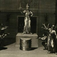 Ceylon Idol Buddu guardian Diety 1789 old print Religious Rites Ceremonies