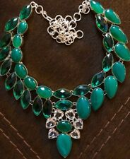Sterling Silver.925 Green Onyx And Green And White Topaz Necklace