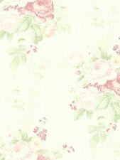 Wallpaper Vintage Cottage Soft Pink and Green Floral Bouquet Roses