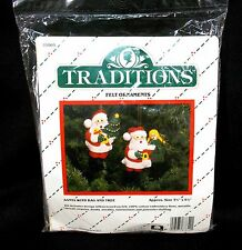 Traditions Santa with Bag and Tree Ornaments Kit Felt Sequins Stuffed 1986