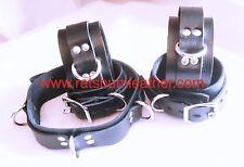 Lockable Black LEATHER Bondage Set Adult Collar Wrist Ankle cuffs bdsm RATS BUM