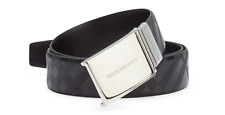 Burberry Men's 'Charles' Reversible Embossed Leather Belt, Black, MSRP $495
