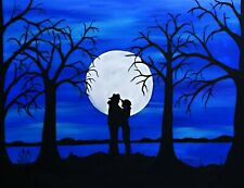 Romantic painting on16x20 inch canvas, original art created with acrylics