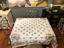 Beauville Cotton Peach Floral Tablecloth 62X62 Made In France M.I.E RI BEAUVILLE