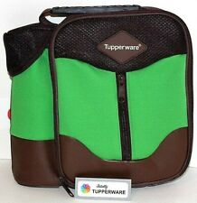 Tupperware Lunch Bag Insulated Green & Brown Zippered Tote w/ Handle Child Size