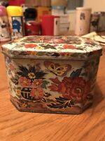 Floral Tin With Hinged Lid. No Brand.