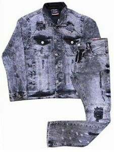 MEN'S DISTRESSED 2 PIECE REPULSIVE ACTIVEWEAR JEAN SUIT W/ MATCHING PANTS