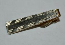 Vintage Gold Tone Solid Classic Textured 1960s Tie Bar Clasp Rare