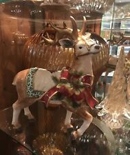 Gorgeous Christmas Glossy Reindeer Figurine Ribbon Blanket & Harness Nib Large