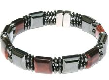 RED TIGER EYE Stones Men's Double Magnetic Circulation Bracelet Anklet 2 Row