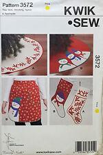 KWIK SEW PATTERN CHRISTMAS APRON TREE SKIRT STOCKING # 3572
