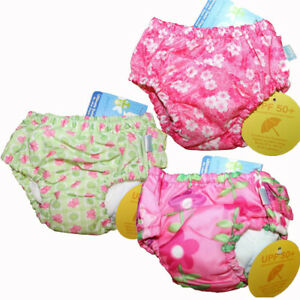 Lot of 3 iPlay Baby Girl Reusable Swim Diapers Size 6 Months 6M 6 M 10-18 lbs