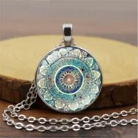 Retro Vintage Mandala Flower Cabochon Tibet Silver Glass Chain Pendant Necklace