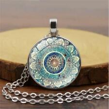 Vintage Silver Mandala Flower Photo Cabochon Glass Chain Pendant Necklace Gift