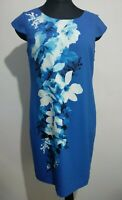 Jacques Vert Royal Blue Floral Print Summer Dress Size 12 Petite Cross back