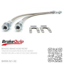 BRAIDED BRAKE HOSES FRONT [HOLDEN FB-EK with HD-HR-HK-HT-HG DISC BRAKES] SILVER