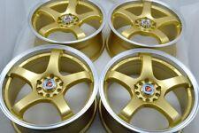 4 New Ddr Fuzion 17x75 5x1001143 38mm Goldpolished Lip 17 Wheels Rims