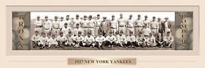 VINTAGE 1927 NEW YOUR YANKEES PANORAMIC PRINT 11.750 X 36  W/DOUBLE FAUX MATTE