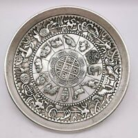 Collect noble tibet silver copper carved 12 zodiac animals statue fengshui plate