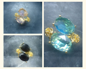 Gold Plated Ottoman Style Statement Ring with Clear Cut Glass Stones Rose Detail
