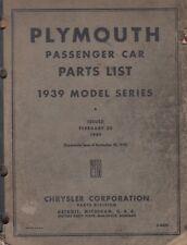 Chrysler Passenger Car Nov 20th1939 Preliminary Parts List Catalog Book D8436
