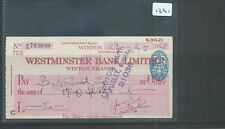 wbc. - CHEQUE - CH1361- USED -1948- WESTMINSTER BANK, WINTON, BOURNEMOUTH