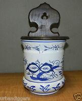 Vintage Kitchen Delft Porcelain Wall SALT BOX  Blue & White